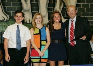 Tuscarora High, Scholarship winners, L to R, John Meyerhoffer, Rhiannon Blakeman, and Amanda Presgraves, presented by Peter Baker, Ruritan Club President