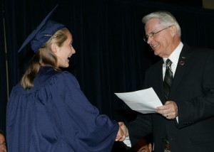 Home Schooled, Scholarship winner, Katie Wormald, presented by, Virginia State Senator, Richard Black