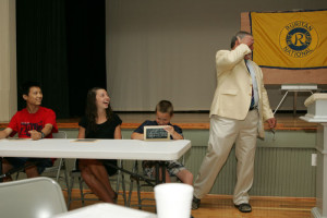 President Peter Gustafson is amazed at a response during the academic and civic challenge.