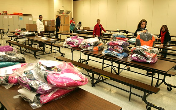 Sorting of the new coats is underway