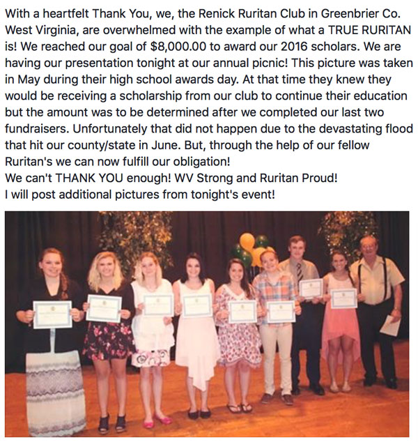 The Lucketts Ruritan Club donated $500 to the Renick Ruritans in WV for their scholarship funds. Due to severe flooding, their fund raiser was cancelled.